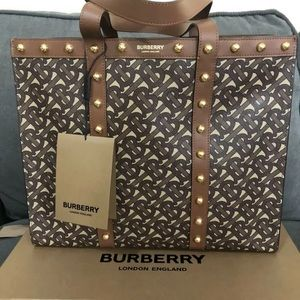 Berberry Small Monogram Print E-Canvas Tote Bag